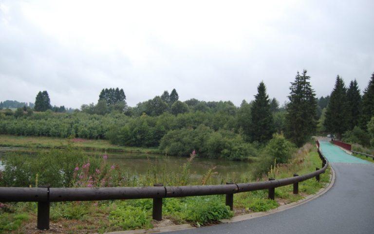 Butgenbach Lake coming from hiking trail Hunningen